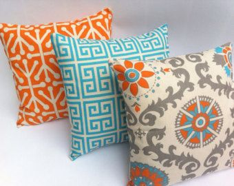 Turquoise And Orange Decorative Throw Pillow Covers Set Of Three