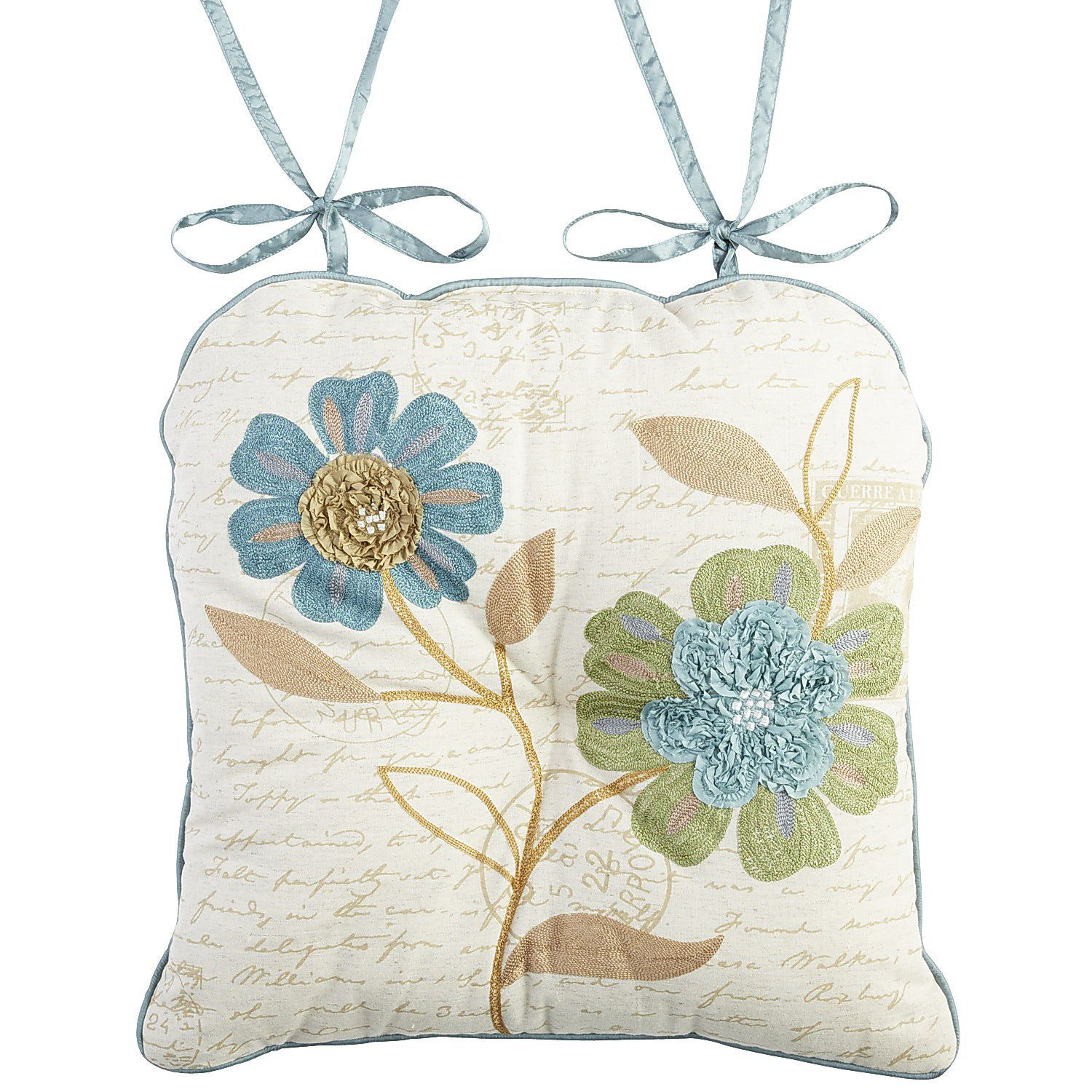Azure Floral Dining Chair Cushion Natural