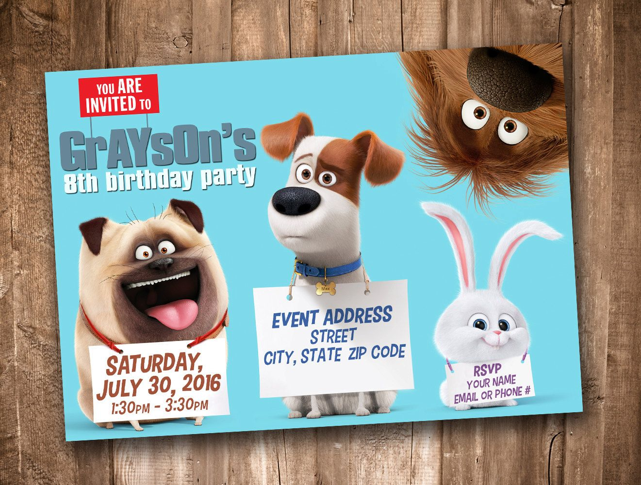 Secret Life Of Pets Invitation Personalized Digital Printable Animal Party Kids Themed Birthday Parties Secret Life Of Pets