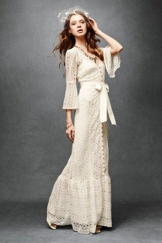 Bohemian Wedding Dress Simple Elegance Of White Eyelet Cotton Lace With Three Quarter Sleeves