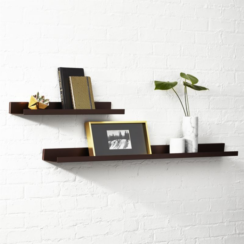 Shop Metal Bronze Wall Shelves. Sleek aluminum ledge with upturned ...