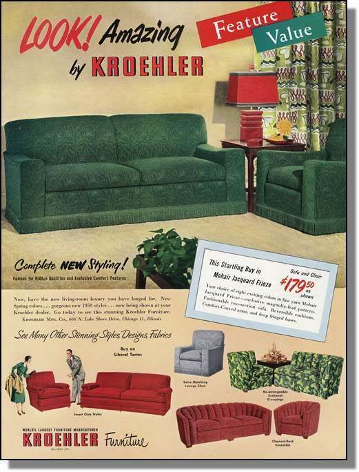 1950 Mohair Living Room Furniture - Kroehler Photo-Ad ...