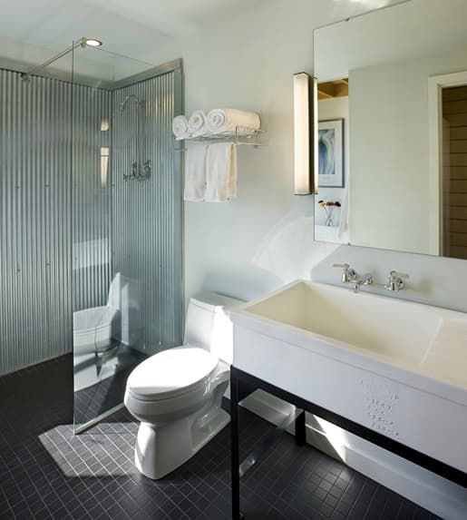An Unexpected Combo: Corrugated Metal in the Bathroom   Apartment Therapy