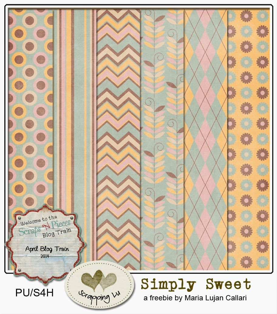 """""""Simply Sweet"""", a freebie for Scraps N Pieces Blog Train"""