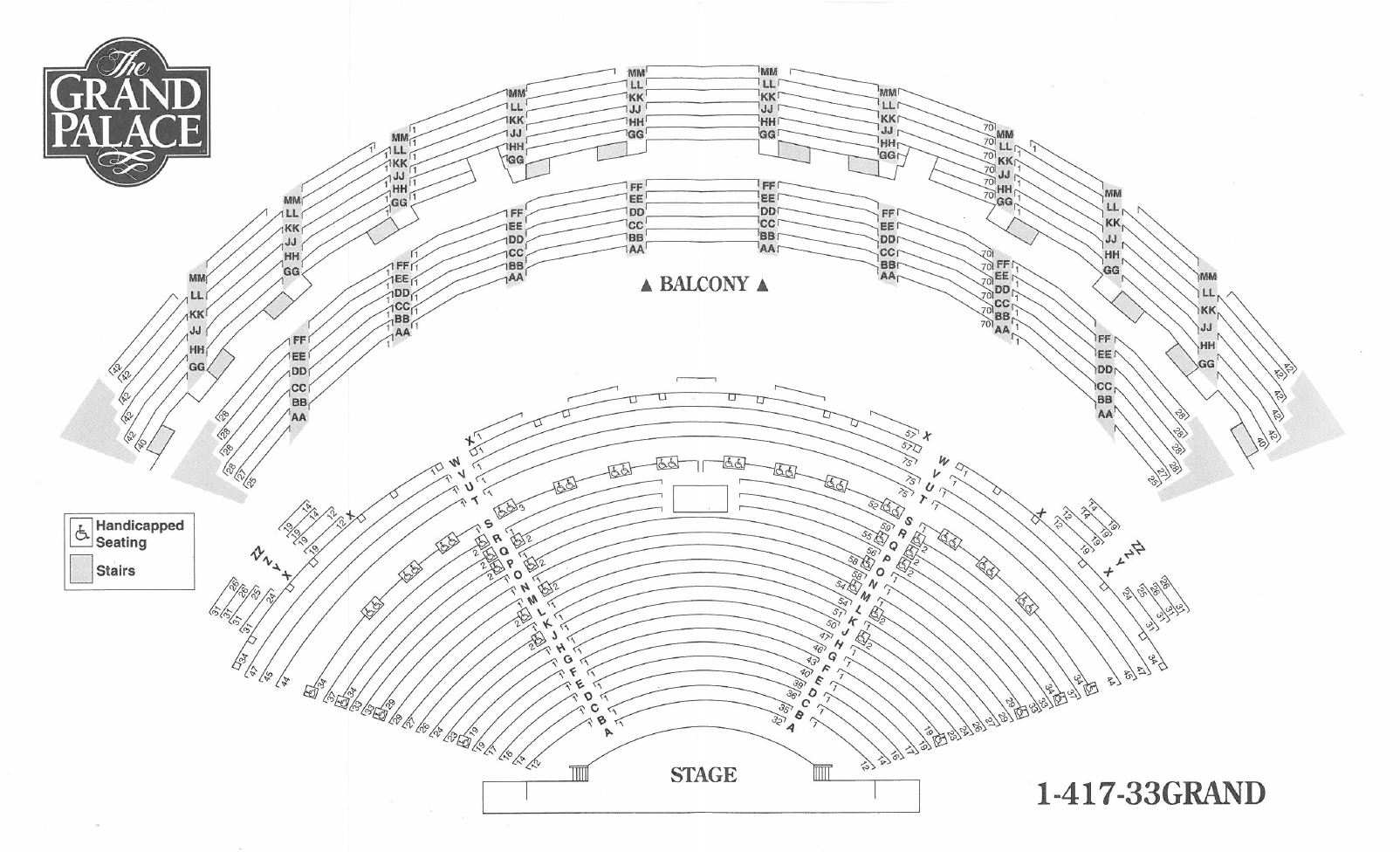 Seating Chart For Branson Missouris Grand Palace Theater 4000