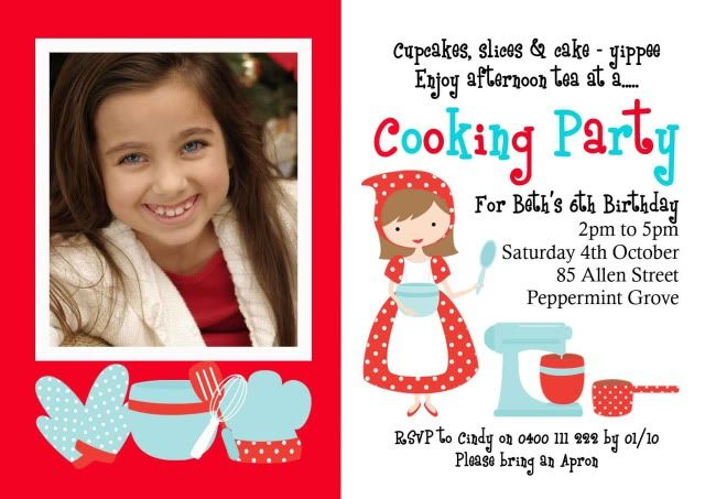 Cooking PartyBirth Announcement Welcome Cards Baby Cards Party – Kids Cooking Party Invitations