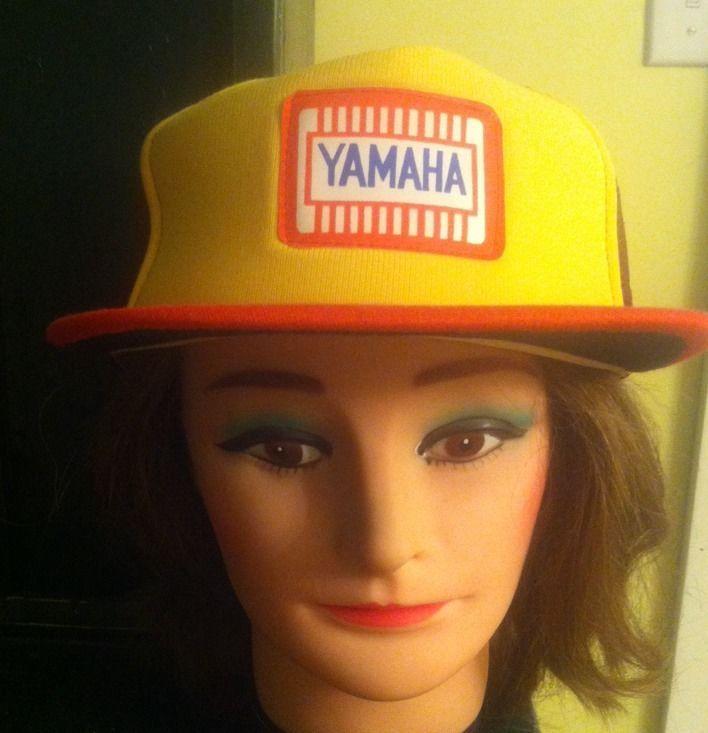 Vintage Yamaha Snapback Trucker Style Hat Adjustable Orange Yellow and Wine