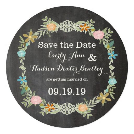Chalkboard Mint Pink Aqua Floral Garland Wedding Personalized Announcement