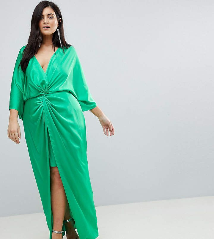 f0b331016a Green ASOS Curve Kimono Twist Front Maxi  sexy  plussize  womens  fashion   2018  evening