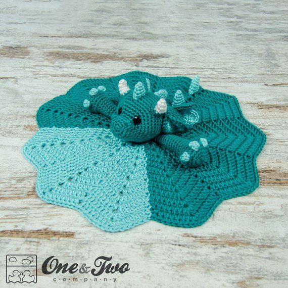 Lovey Crochet Pattern - Dragon PDF Security Blanket - Tutorial Digital Download DIY - Felix the Baby Dragon Lovey - Dou Dou - Baby toy #crochetsecurityblanket
