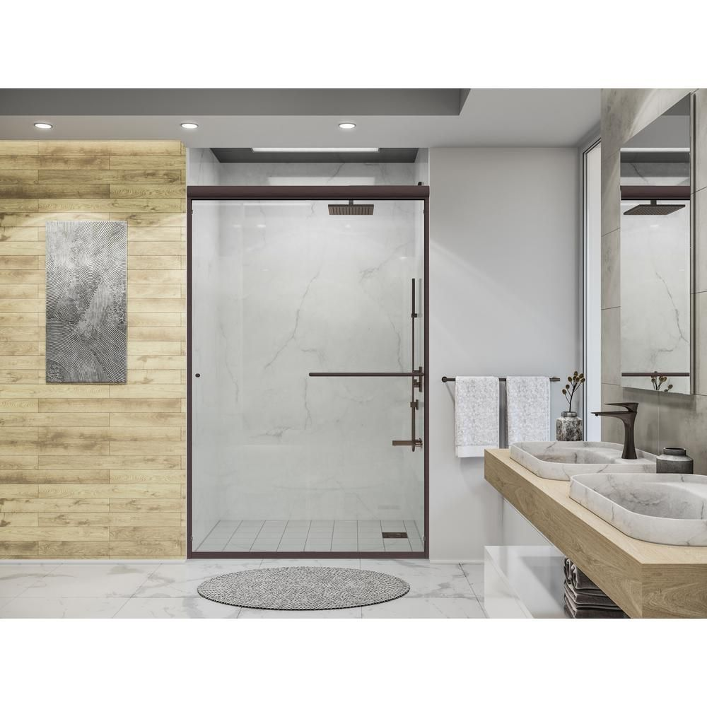 Ove Decors Sydney 78 75 In H X 46 25 In To 47 75 In W Frameless Bypass Sliding Black Shower Door Lowes Com In 2020 Black Shower Doors Shower Doors Sliding Shower Door