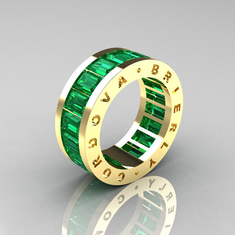 Mens Modern 14k Yellow Gold Emerald Channel Cer Infinity Wedding Band R174 14ygem 1 749