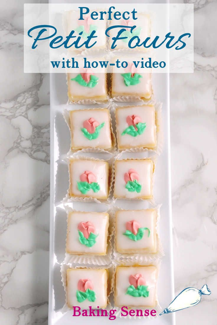Learn how to make Classic Almond Petit Fours made with rich almond cake and a quick fondant icing that can be made from powdered sugar. #how to make #recipe #video #baking sense #icing #classic #almond #perfect #best #real
