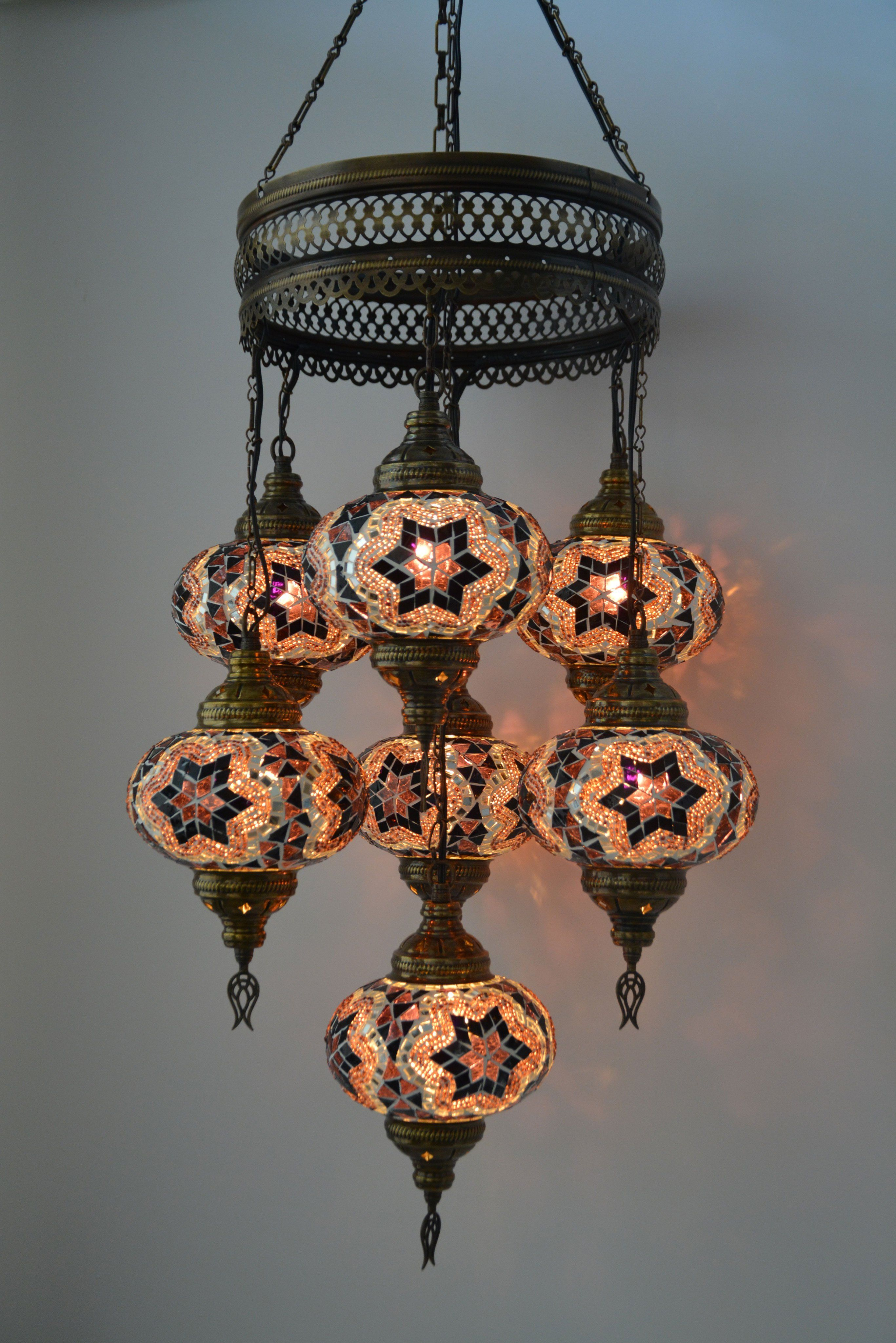 7 glass globe turkish moroccan chandelier lighting fixture 7 glass globe turkish moroccan chandelier lighting fixture lamptastic arubaitofo Gallery