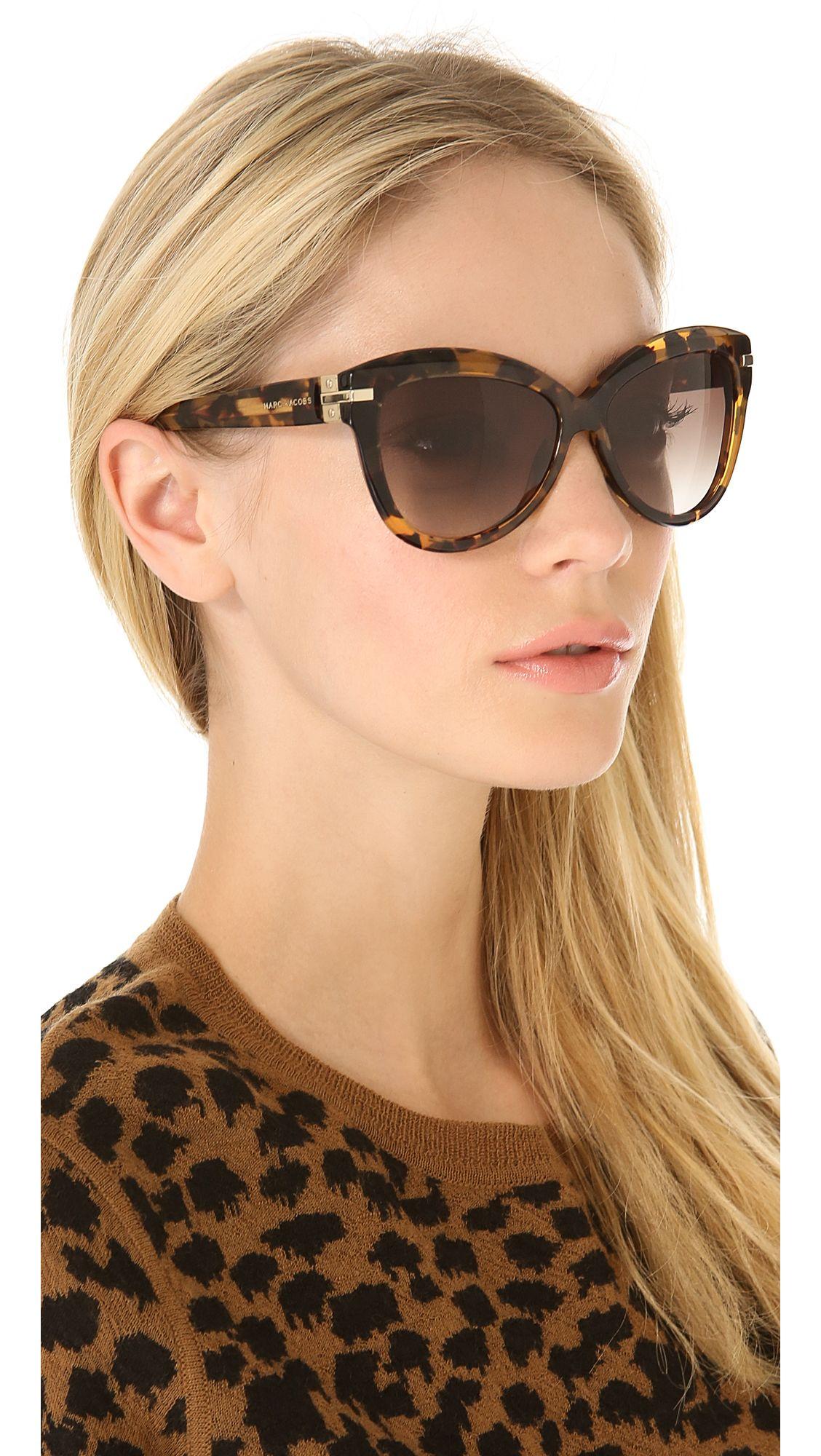 da4b74cb4f1e marc-jacobs-sunglasses-havana-exaggerated-cat-eye-sunglasses | Sun ...