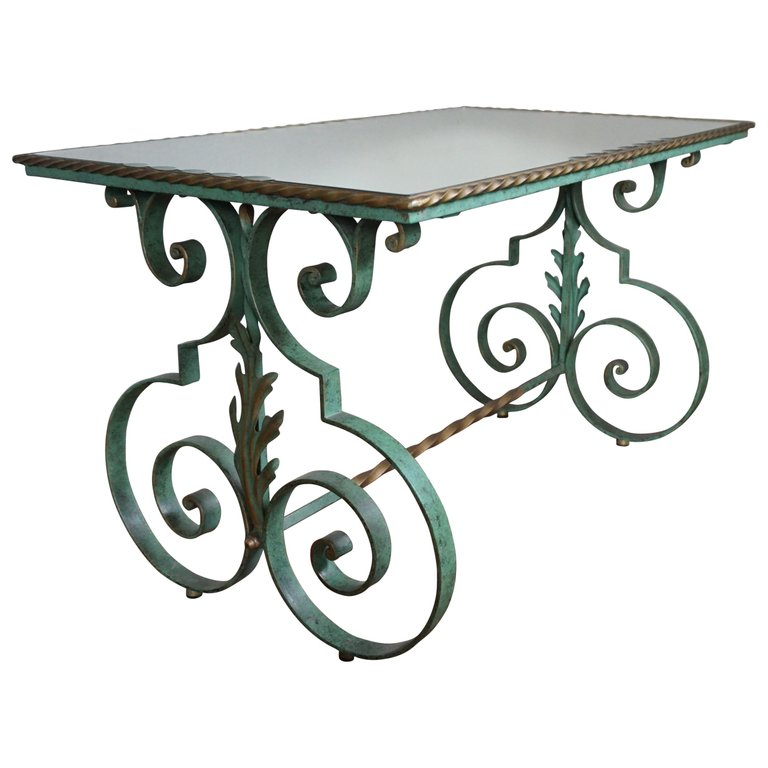 French Midcentury Forged Coffee Or Side Table Glass Top And Marble Top Options Metal Outdoor Table Glass Top Table Wrought Iron Table