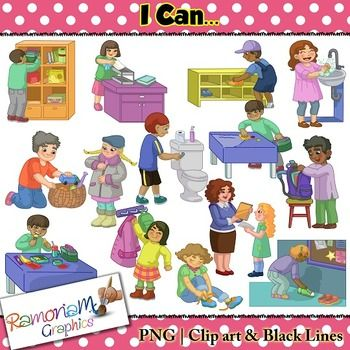 This classroom routines and life skills set contains images of realistic and…