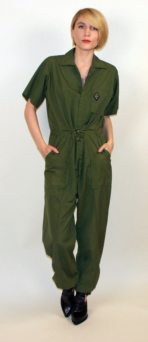 57db9f054f8 70 s Military Jumpsuit Pilot para suit army by VonVixenVintage