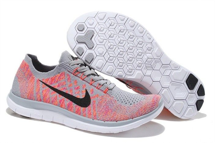 Nike Womens Free Flyknit 4.0 Shoes Light Peach Red Gray Black Hot, $105.29 | www.nkshoesonline.com