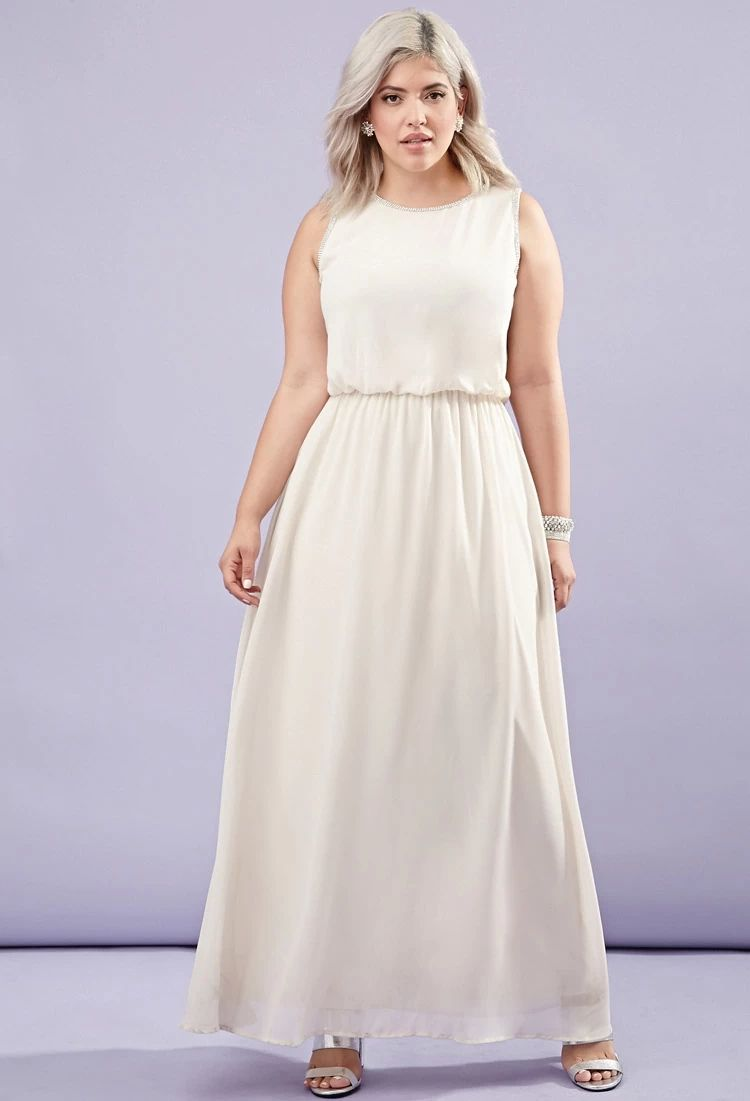 Plus Size Rhinestone Chiffon Maxi Dress Forever 21 Plus