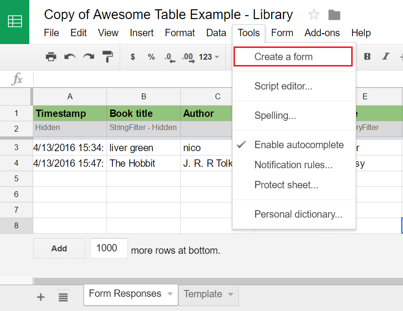 Connect a Google Form to Awesome Table Documentation