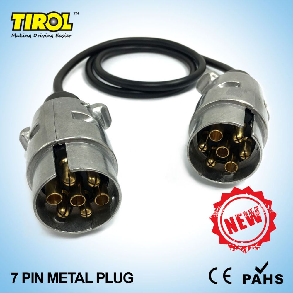 Atv Wiring Connector Tirol 7 Pin Metal Plug Trailer Cable 12n Type 2 X Plugs 82cm T23488 Free Shipping
