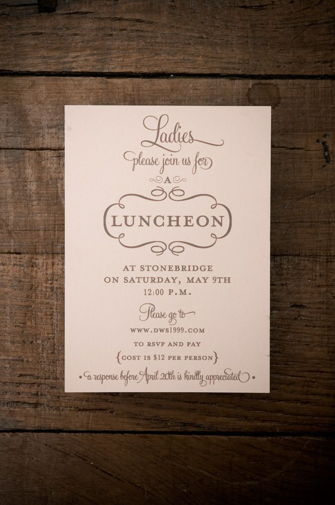 ladies luncheon invitation print invitations print chocolate