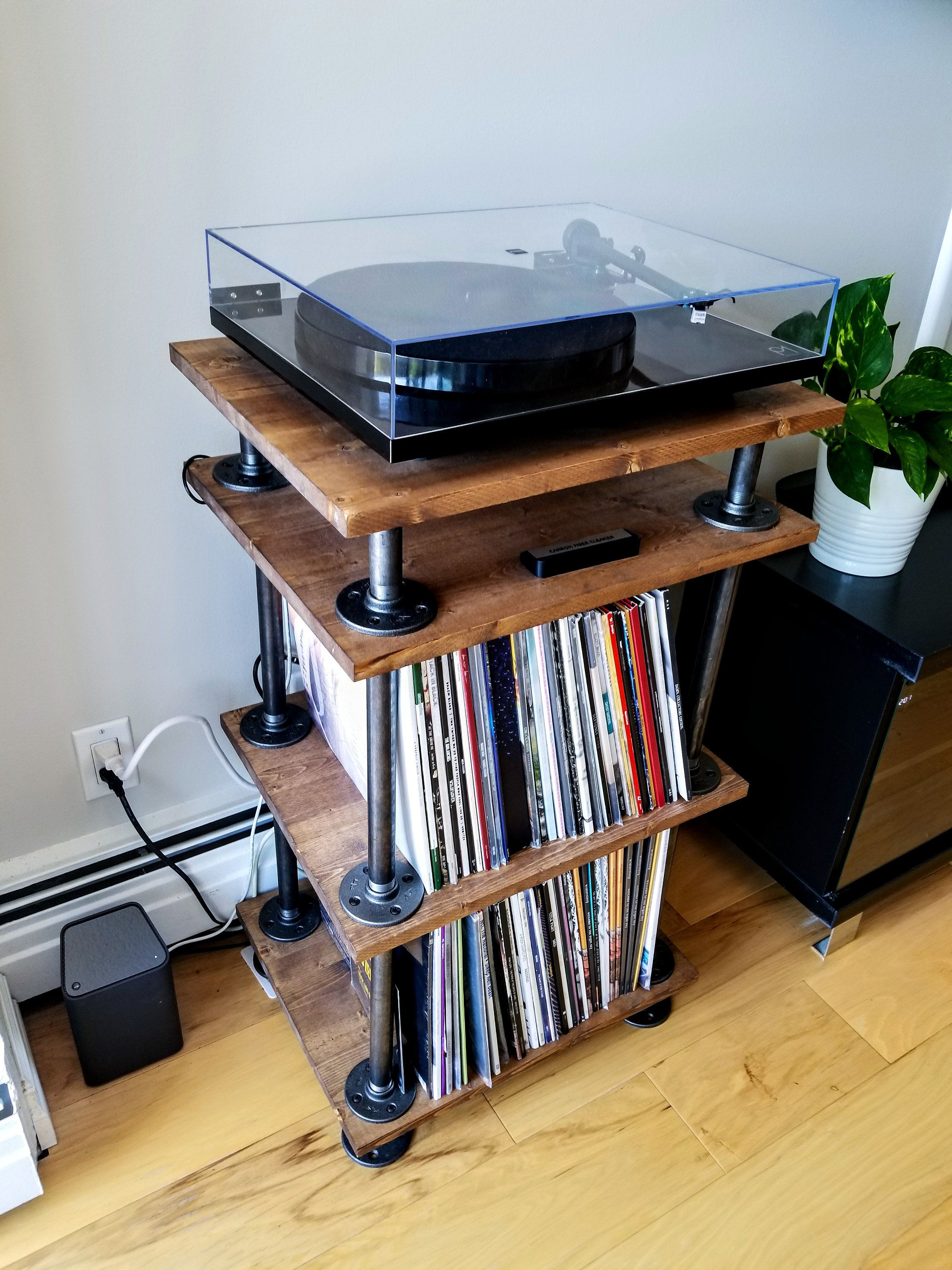 Rustic Industrial Style Record Player Stand Vinyl Storage Etsy Record Player Stand Vinyl Storage Vinyl Record Storage Diy
