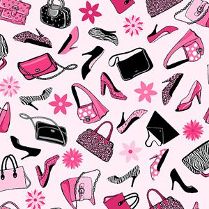 """Springs Creative Novelty Print Work Those Pumps 44"""" wide Fabric by the Yard"""