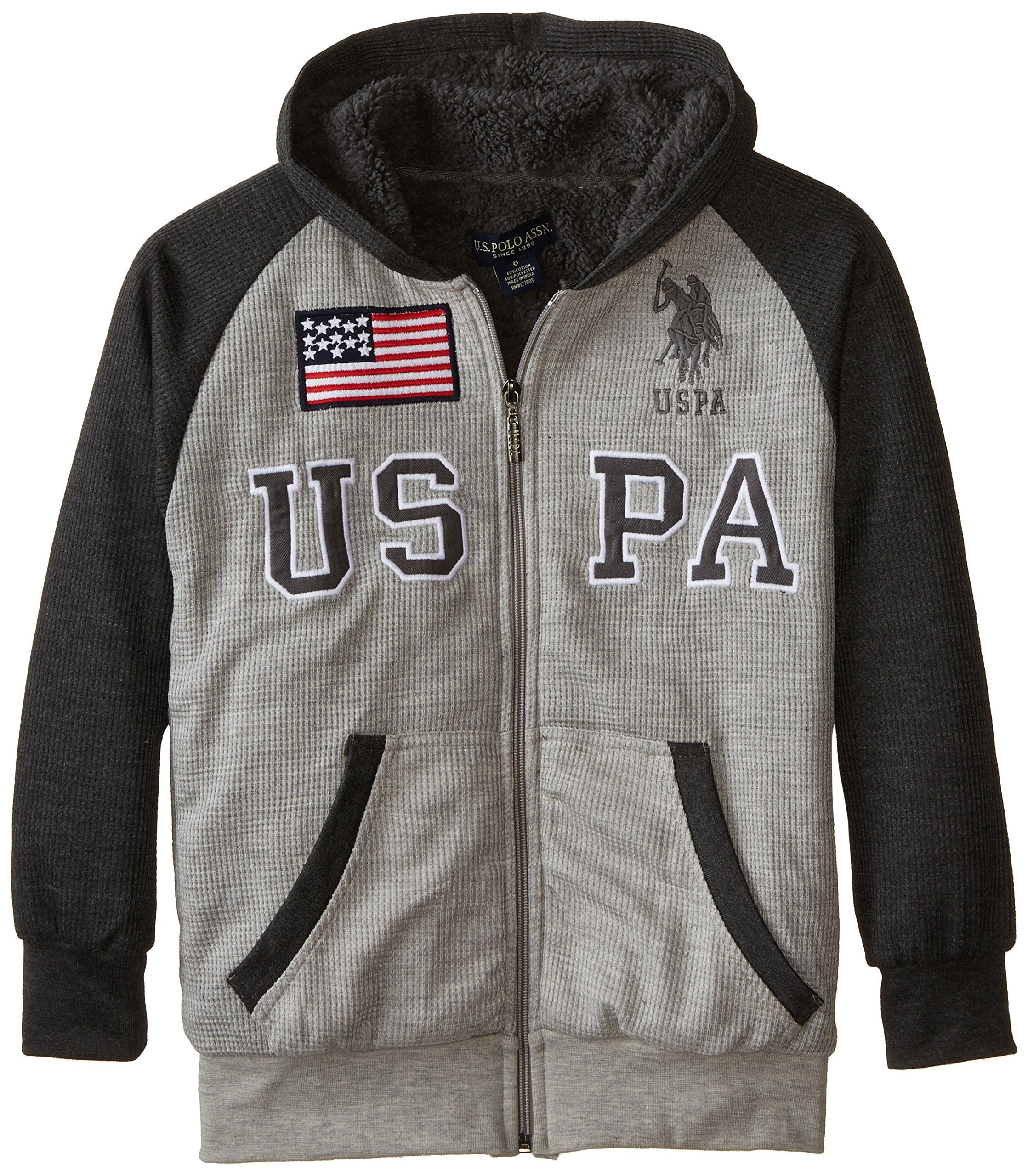 U.S. Polo Assn. Big Boys' Sherpa Lined Thermal Hoodie, Light Heather Gray, 8. Color blocked thermal jacket has rib knit cuffs and hem. Kangaroo pockets. Embroidery and patch logos. Sherpa lined.