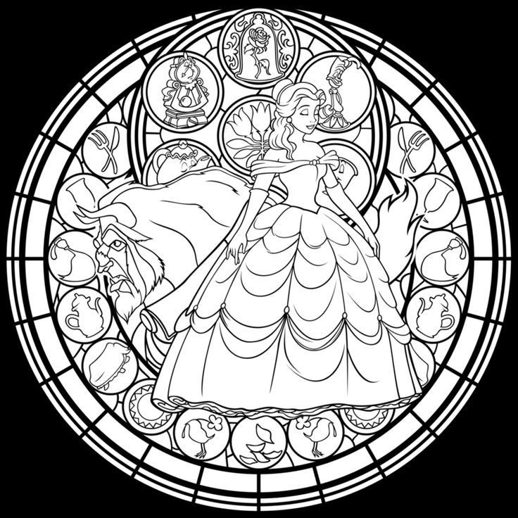 Advanced Coloring Pages Stained Glass Window Coloring Pages For Disney Coloring Pages Disney Stained Glass Coloring Pages