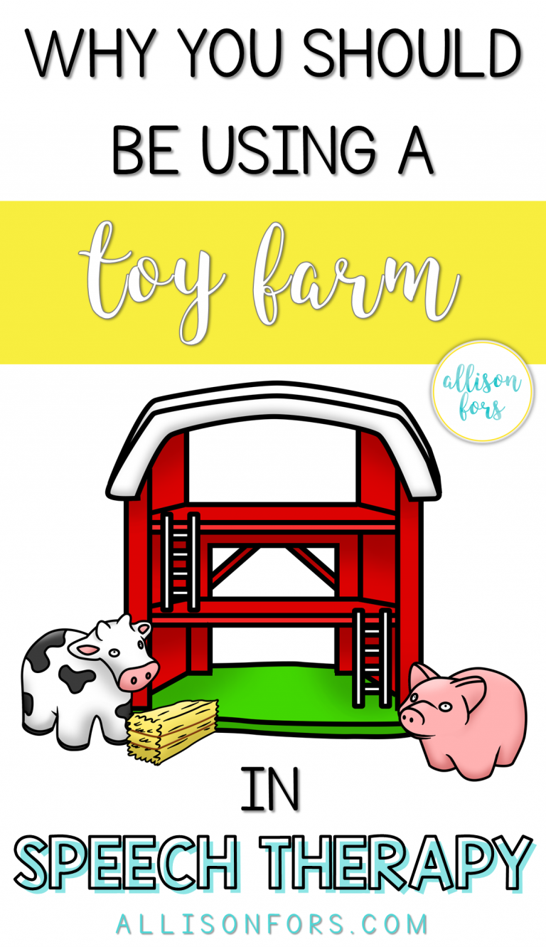 Why You Should Be Using a Toy Farm in Speech Therapy is part of Speech therapy games, Language therapy activities, Preschool speech therapy, Speech therapy activities, Childhood apraxia of speech, Speech activities - A play farm is one of my favorite therapy toys because it is versatile and engaging  I live for items that I can target multiple speech therapy goals with! I've used toy farms to work on many expressive and receptive language goals, as well as articulation