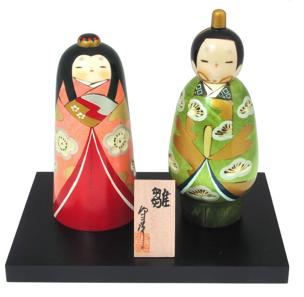 "Wedding Gift! Japanese Creative KOKESHI HINA Wooden Dolls 6.75""H (Made in Japan)"