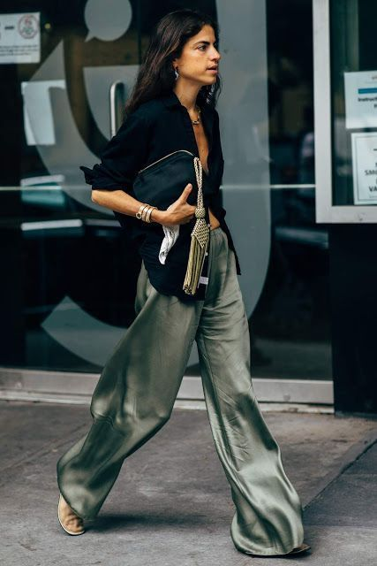 Army green silk pants High-waisted khaki silk trousers long Stretch silk pant Silk straight-leg pants