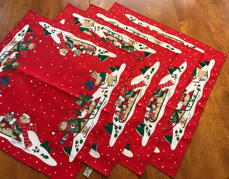 Vintage Teddy Bears Red Christmas Cloth Napkins set of four #clothnapkins