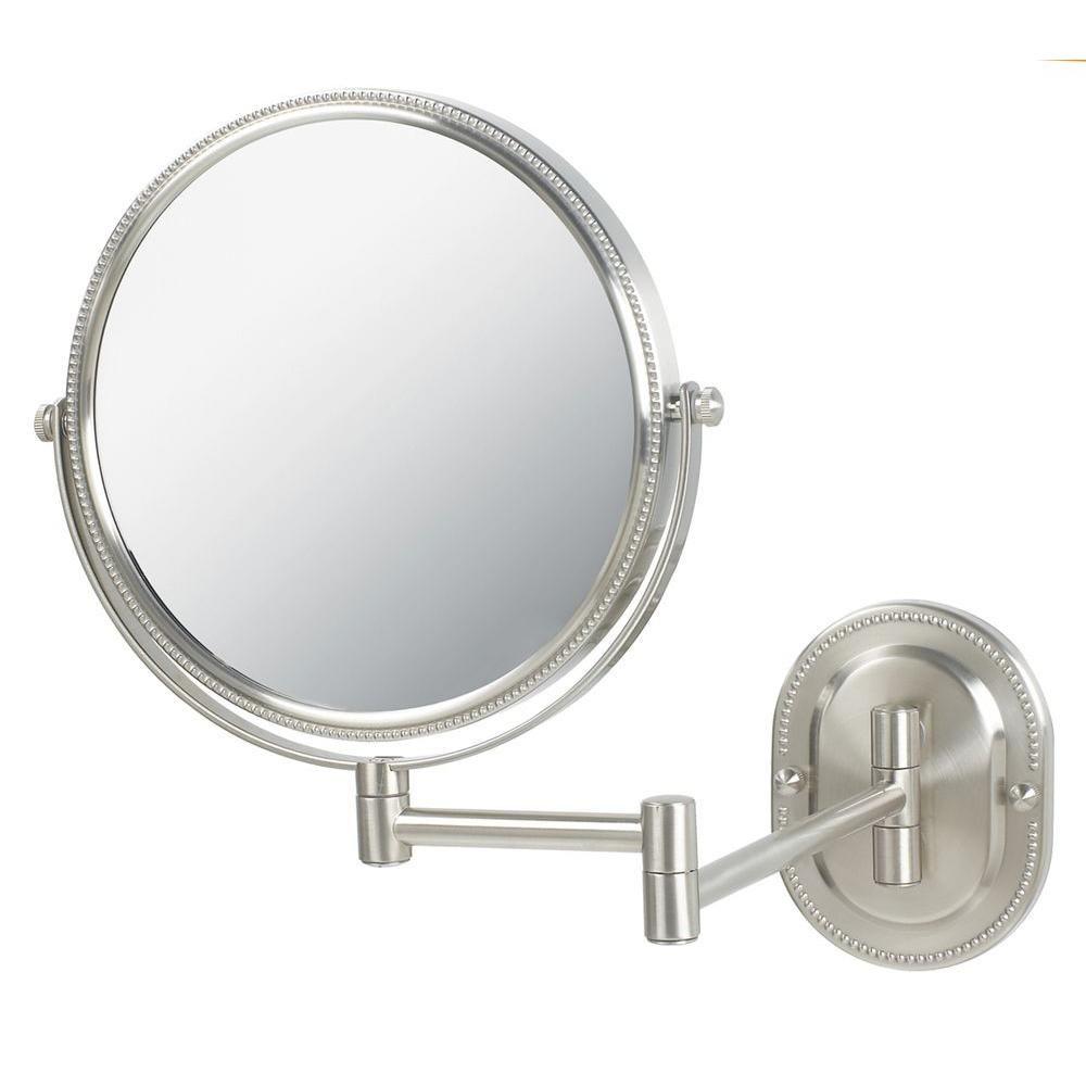 Jerdon 7x Wall Mount Makeup Mirror In Nickel Jp7507nb Wall Mounted Mirror Wall Mounted Makeup Mirror Shaving Mirror