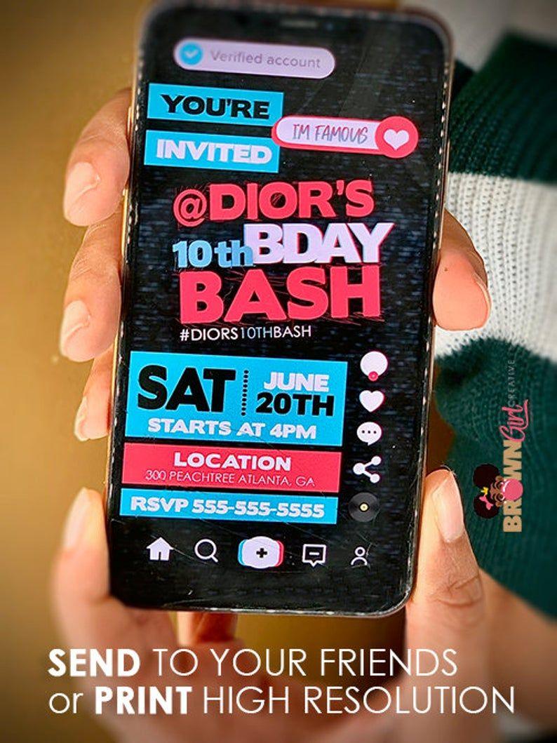 Digital Tik Tok Invitation Tik Tok Birthday Tik Tok Etsy Bday Party Kids Slumber Party Invitations Virtual Invitations