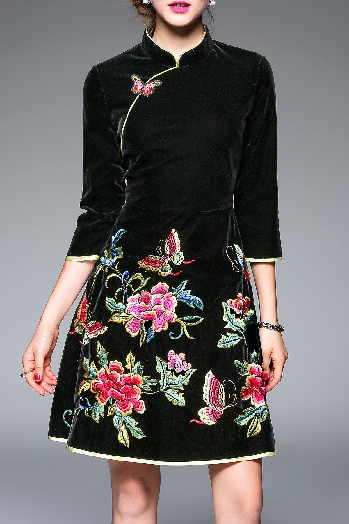 Floral Embroidered Flare Cheongsam Dress | Fashion | Pinterest ...