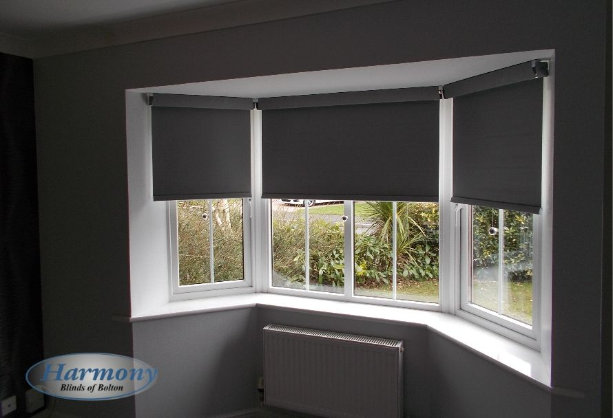 Dark Grey Senses Roller Blinds With Chrome Finishes In A Bay Window Blinds For Windows Kitchen Blinds Roller Blinds