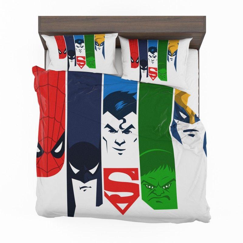 Superheroes Spider Man Batman Superman Hulk Wolverine Bedding Set