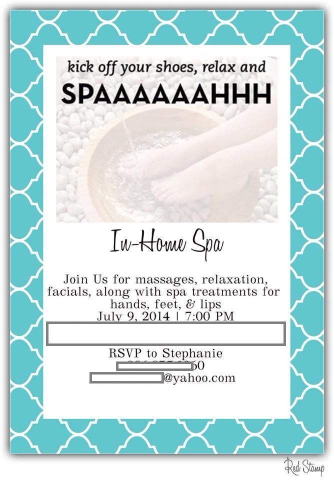 beauticontrol red stamp spa party invitation