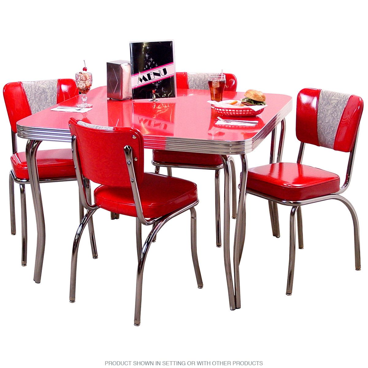 Commercial Grade Retro Kitchen Table With Chair Set Consists Of A