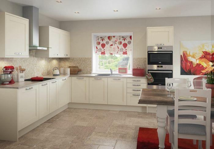 küche streichen cremefarbene küchenschränke und mosaikfliesen - küche streichen welche farbe