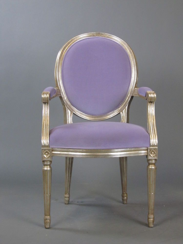 NANCY CORZINE Louis XVI Style Purple Velvet Silver Dining Side Chair NEW