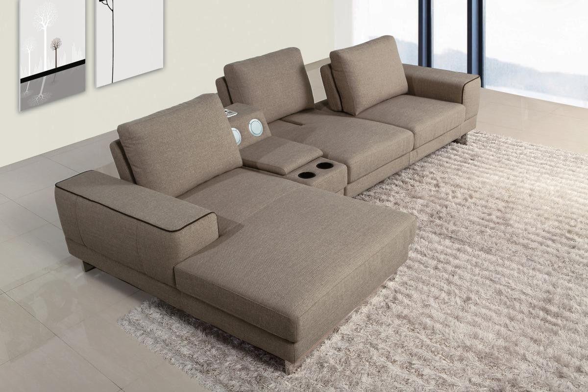Divani Casa Gatsby Modern Fabric Sectional Sofa with