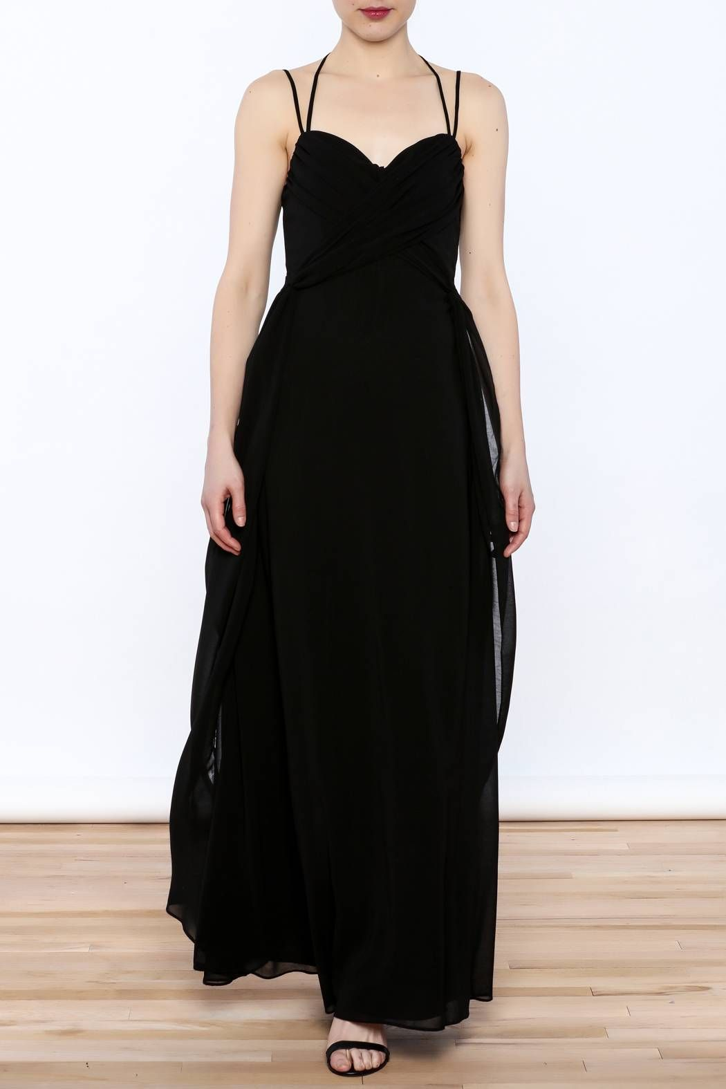 Floor Length Black Evening Gown With Wrap Top And Spaghetti Straps Fully Lined Elegant
