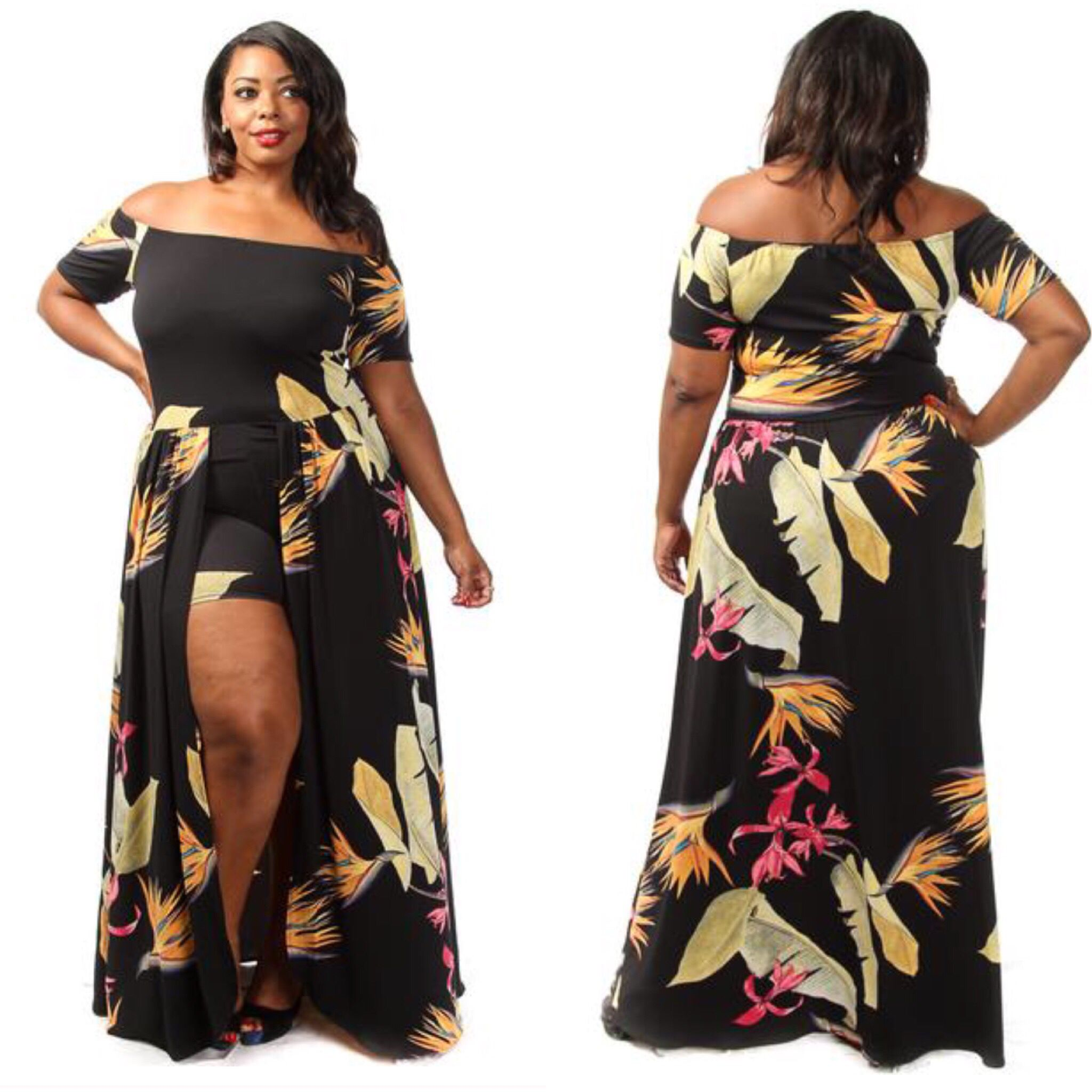 Hawaiian plus size maxi dress with shorts attached ...