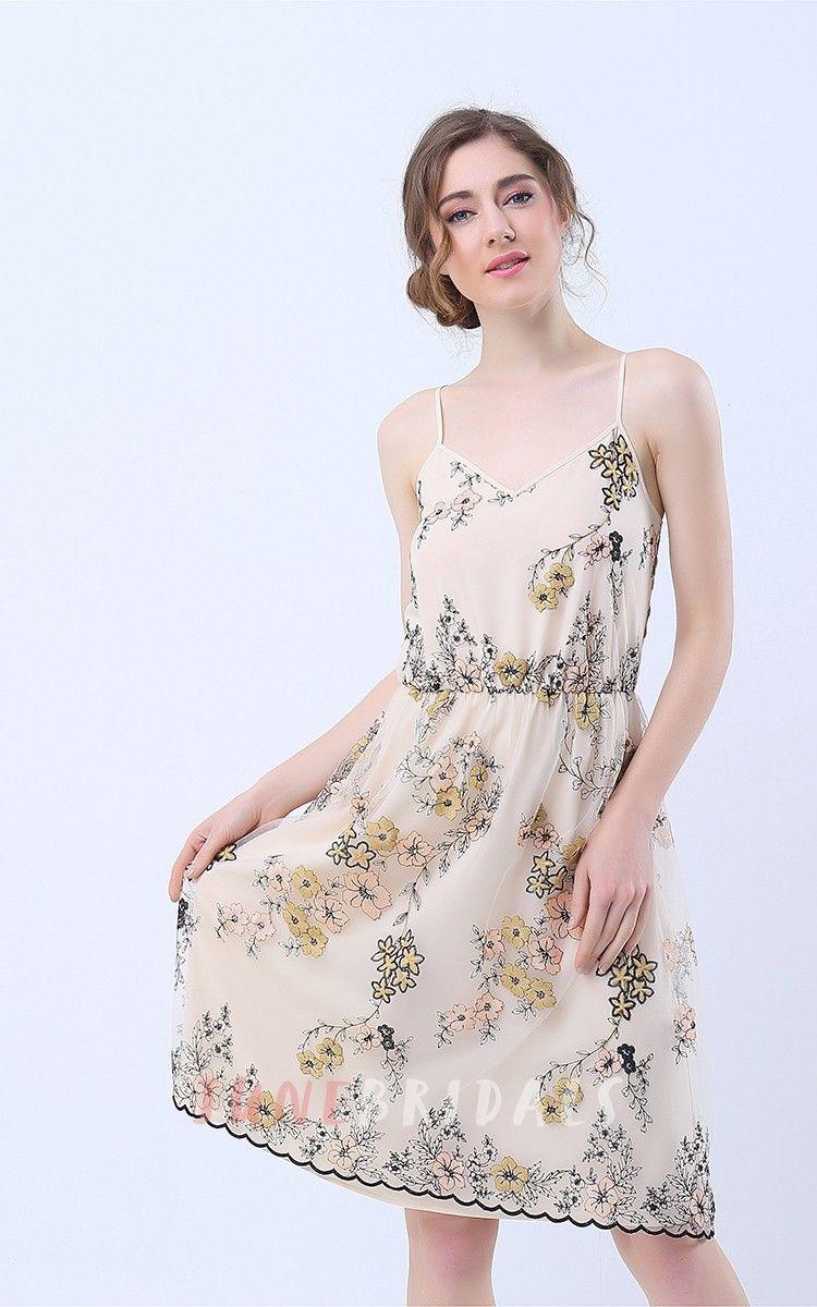 Floral Print VNeck ALine Knee Length Dress  Wedding Guest Dresses