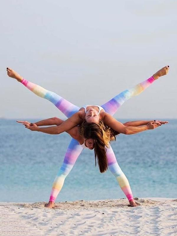 Gradient Rainbow Colored Sp Yoga Poses For Two Couples Yoga Partner Yoga Poses