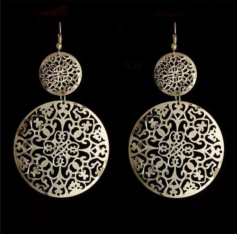 Gold Bohemian 18K Round Filigree Drop Dangle Earrings US Seller ... 71ba90aa603e